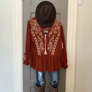 Free People Boho Embroidered Tunic